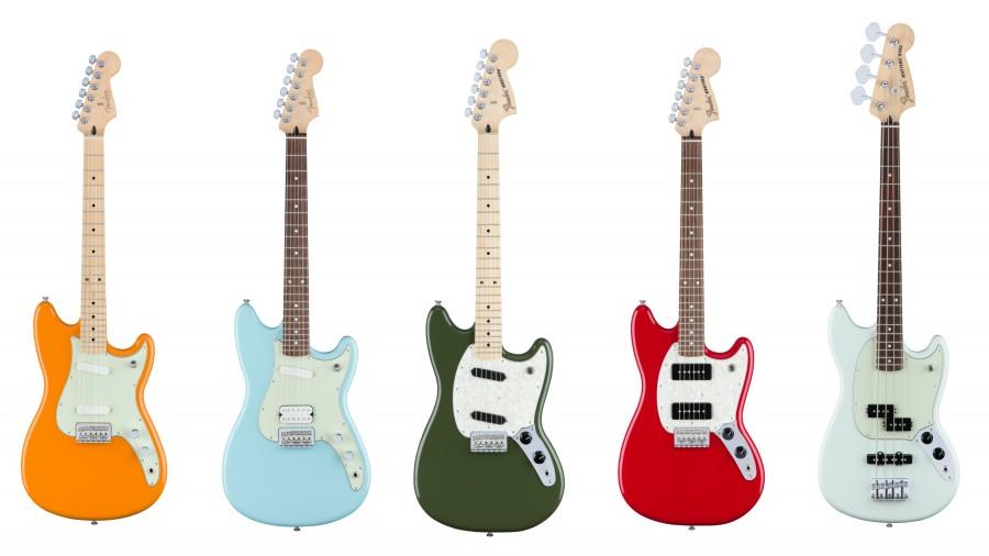 De gauche à droite : Duo-Sonic, Duo-Sonic HS, Mustang, Mustang 90, Mustang Bass PJ