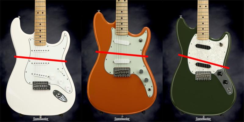 La Mustang de droite n'a pas du tout le même corps qu'une Duo-Sonic de la gamme Offset.